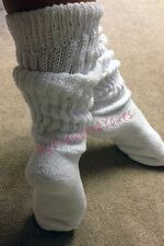 HOOTERS UNIFORM White Thick Ribbed Leg Warmer Style EXTRA LONG SLOUCH SOCKS O/S