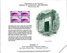 B42 PURIPEX '77 BEP Souvenir Card 3c Puerto Rico La Fortaleza Sc. 801 Mint