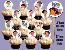 "Dora the Explorer 1.5"" Circle Image Cupcake Picks Cake Toppers - 12pcs"