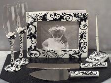 Black & White Damask Guest Book Toasting Glasses Bridal Wedding Accessory Set