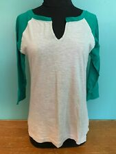 One Step Up Junior's 3/4 Sleeve Raglan Top - Large, Gray & Green, EUC