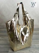 Italien XXL Sac de courses épaule Sac Pour Femmes en or aspect métallique
