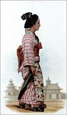 JAPON: FEMME marchant avec des talons de bois à YOKOHAMA - Gravure en couleur
