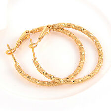womens Gorgeous earings 18k yellow gold filled Frosted hoop earrings gift