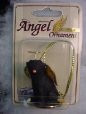 PUG dog ANGEL Ornament HAND PAINTED Resin Figurine NEW Christmas Black puppy K9