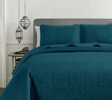 Pinsonic Quilted Austin Oversize Bedspread Coverlet 3-piece Set, Teal