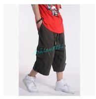 Mens Cargo Baggy Overalls Harem pants shorts Sweatpants Loose Pants Hip Hop NEW