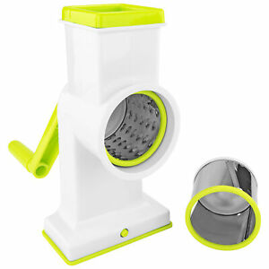 2 in 1 Deluxe Drum Rotary Grater Grinder Slicer Cheese Nuts Veggies Kitchen Tool
