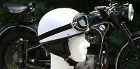 Motorradhelm & Motorradbrille für Oldtimer Weiß L 59-60cm Motorrad Retro Helm