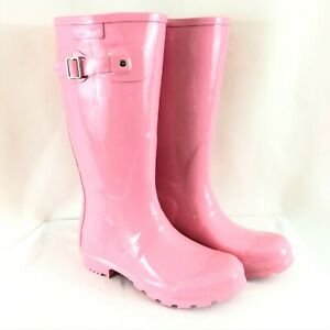 Daily Shoes Womens Rain Boots Rubber Slip On Pink Size 7