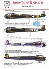 Hungarian Aero Decals 1/48 DORNIER Do-215B & DORNIER Do-17S German Bombers