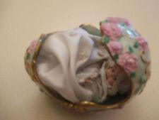 """Porcelain Christening Baby in Porcelain Egg """"96 @Tfm"""" ~ gold filigree"""