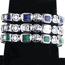 3-RING COMBO #1_GEOMETRIC CZ ETERNITY BAND RINGS_SZ-7__925 STERLING SILVER