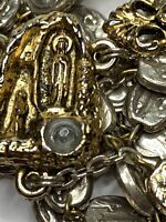 """† DATED 2008 LOURDES"""" WATER RELIC CENTERPIECE HEAVY TWO TONE ROSARY 32"""" 56 GRS †"""