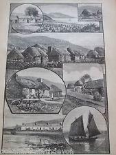 ANTIQUE PRINT 1885 HIGHLAND CROFTERS COTTAGES SCOTLAND ENGRAVING ART PICTURE