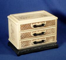 Vintage 1950s Japanese Style Ornate Jewelry Make Up Box Case Hard Plastic