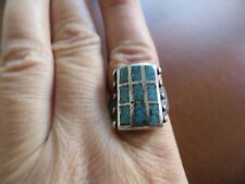 Very Old Pawn Zuni Sterling Turquoise Chip Inlay Ring Size 9 signed JL.
