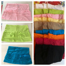 Ladies 100% Cotton Layered Ruffled Frill Detail Mini Skirts (9 Colors)