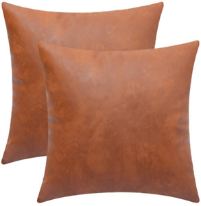 """2 DeChicor Faux Leather Throw Pillow Covers 18"""" x 18"""""""