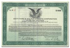Sixty-Third & Walnut Streets Corporation Bond Certificate (Philadelphia)