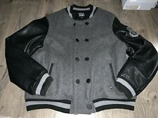 Wool Rocksmith Varsity Jacket, Leather Sleeves, Black ,3xl Slim