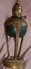 """Lampe à pétrole XIXème monture athénienne bronze décor mascaron """" Tête de Bouc """""""