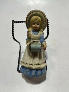 "Vintage Ceramic Girl Thread Scissor Holder Figurine W/ PIN CUSHION 6"""