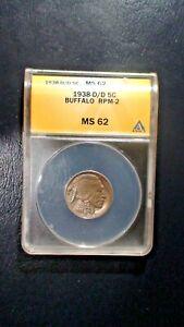 1938 D/D Buffalo Nickel ANACS MS62 UNCIRCULATED 5C Coin Starts At 99 Cents