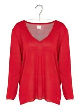 New DES PETITS HAUTS Cristane Fine Fluid Sweater with V-neck Red SIZE 38 (t3)