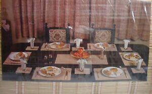 Vintage Bambo Tea Table Mat Set 13pc Washable