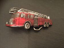 RED FIRE ENGINE New BELT BUCKLE Metal Red Enamel Fire Truck