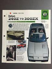 """1969 Datsun 240Z to 300ZX Timeline IMP """"Hot Cars"""" Spec Sheet Folder 9-11 Aweosme"""