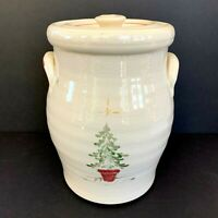 "Rowe Pottery Works Large Christmas Tree Cookie Jar Canister 10"" Ivory Crackle"