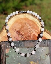 Pink rose quartz & red garnet bead ornate silver tone NECKLACE