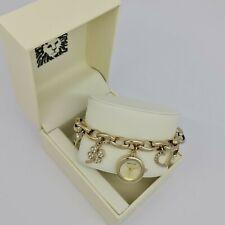 Anne Klein 10-7604CHRM Gold-tone Dial Gold Tone Charm Bracelet Ladies Watch