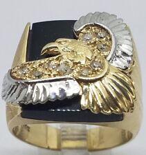 14k REAL GOLD Eagle manmade diamond Natural Onyx tri size 8 7 7.5 8.5 9  11.5g