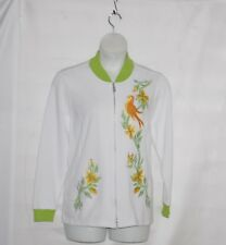 Bob Mackie Embroidered Songbird Zip Up Jacket Size 1X White