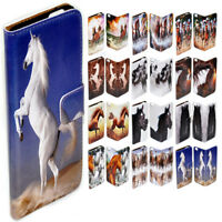 For Huawei Series Mobile Phone Horse Theme Print Flip Case Wallet Phone Cover #2