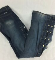 RH Womens Flare Jeans Blue Dark Wash Stretch Straps Zipper Fly Pocket Denim 36