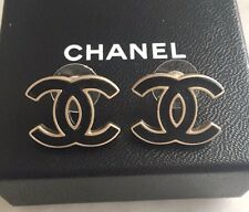 """CHANEL LARGE CC LOGO GOLD METAL BLACK LEATHER  POST EARRINGS 0.6' X 0.5"""""""