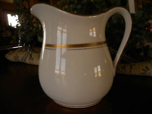 "White Small Pitcher Farmhouse Style Vintage Semi Vitreous TRCO apx 5.5"" tall"