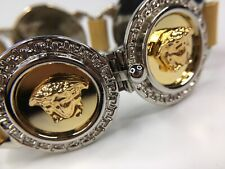 GIANNI VERSACE VINTAGE '90s MEDUSA MEDALS BRACELET MEN GREEK KEY HAND MADE GOLD