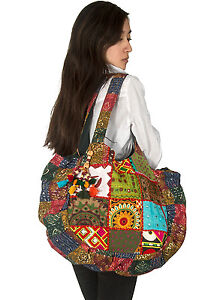 Tribe Azure Patchwork Mirrors Women Large Shoulder Bag Tote Summer Beach Picnic