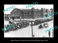 OLD LARGE HISTORIC PHOTO OF EUGENE OREGON, THE MOTORCYCLE CLUB AT ARMORY c1920
