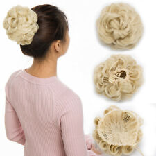 100% Real Natural Clip on/in Messy Hair Bun Extension Chignon Hair Piece US AP5