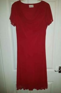 Bonmarche red womens midi dress size 14 UK short sleeve excellent condition