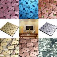 Mosaic Aluminum Tile Self Adhesive Kitchen Bathroom Backsplash Sticker 30x30cm