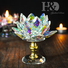 Colorful Crystal Glass Lotus Flower Ornament Crafts Home Decor Feng Shui Gifts
