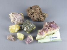 Vieille Collection de Minéraux avec Pierre Améthyste Certifié le Mine