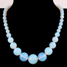 Fashion 6-14mm Sri Lanka Moonstone Gemstones Round Beads Necklace 18""